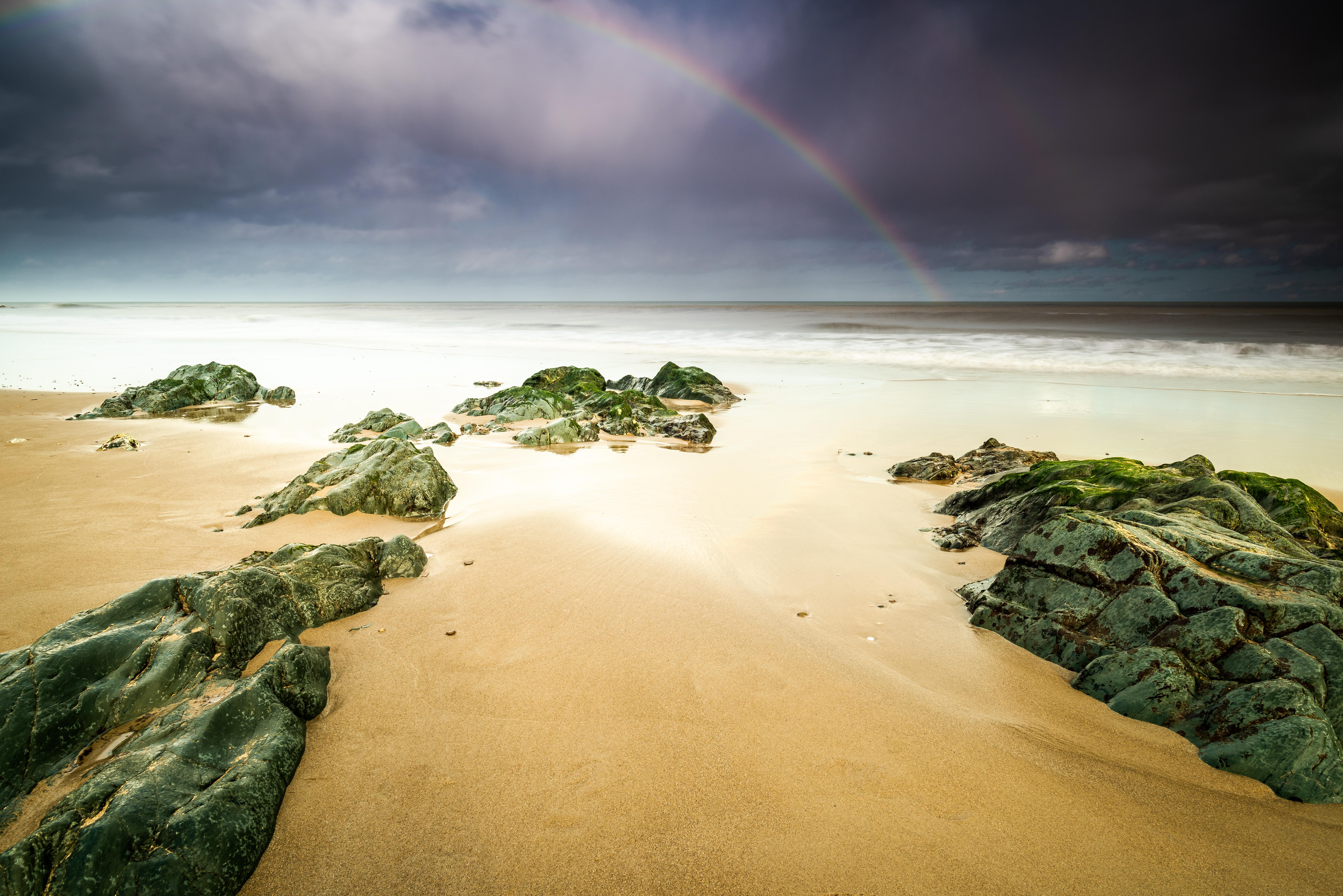Rainbow Cahore Beach Ireland Wexford Rocks